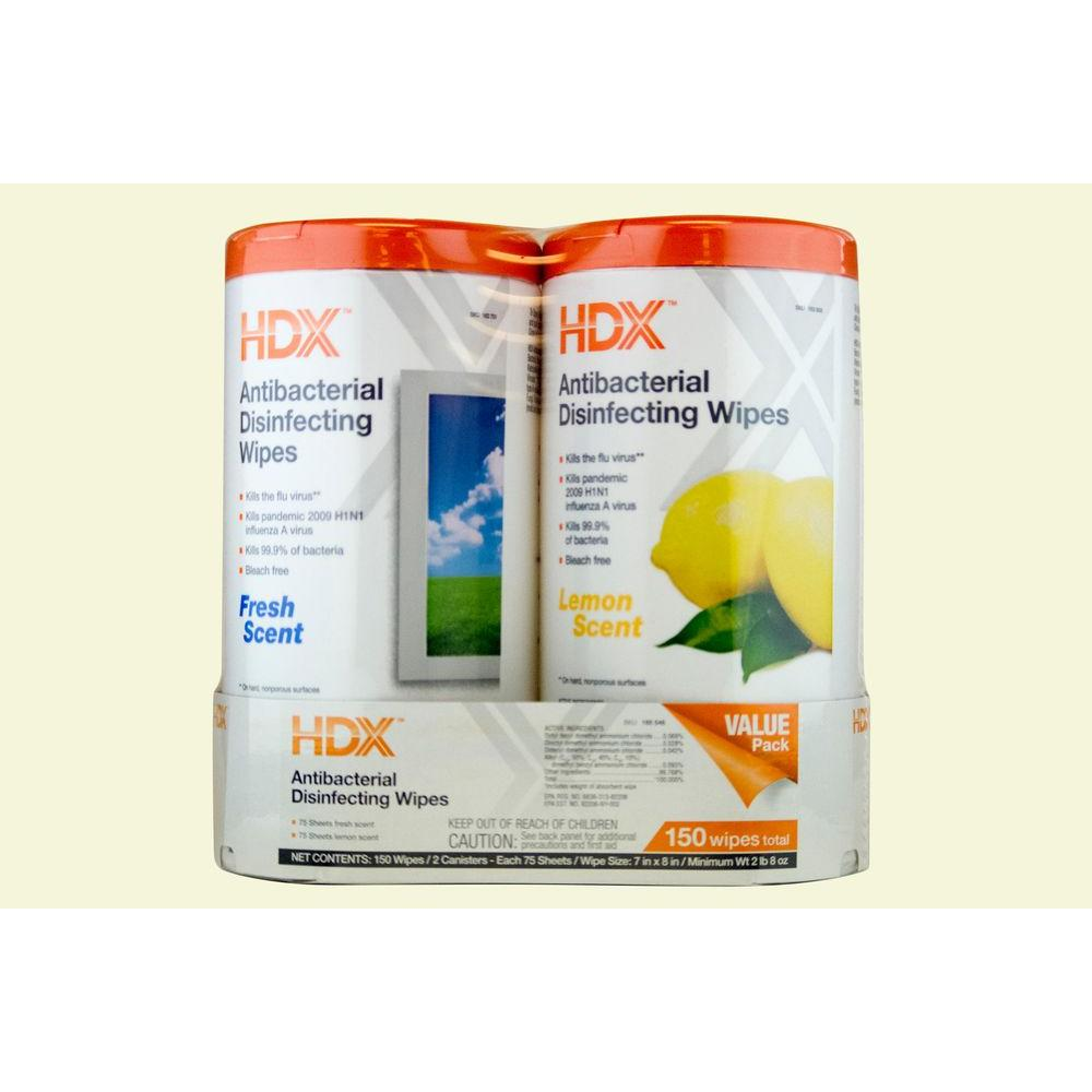 HDX Fresh Scent and Lemon Scent Disinfecting Wipes (75-Count) (2-Pack)