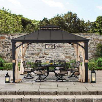 Lanier 10 ft. x 12 ft. Brown Steel Gazebo with 2-Tier Hip Roof Hardtop with Mosquito Netting