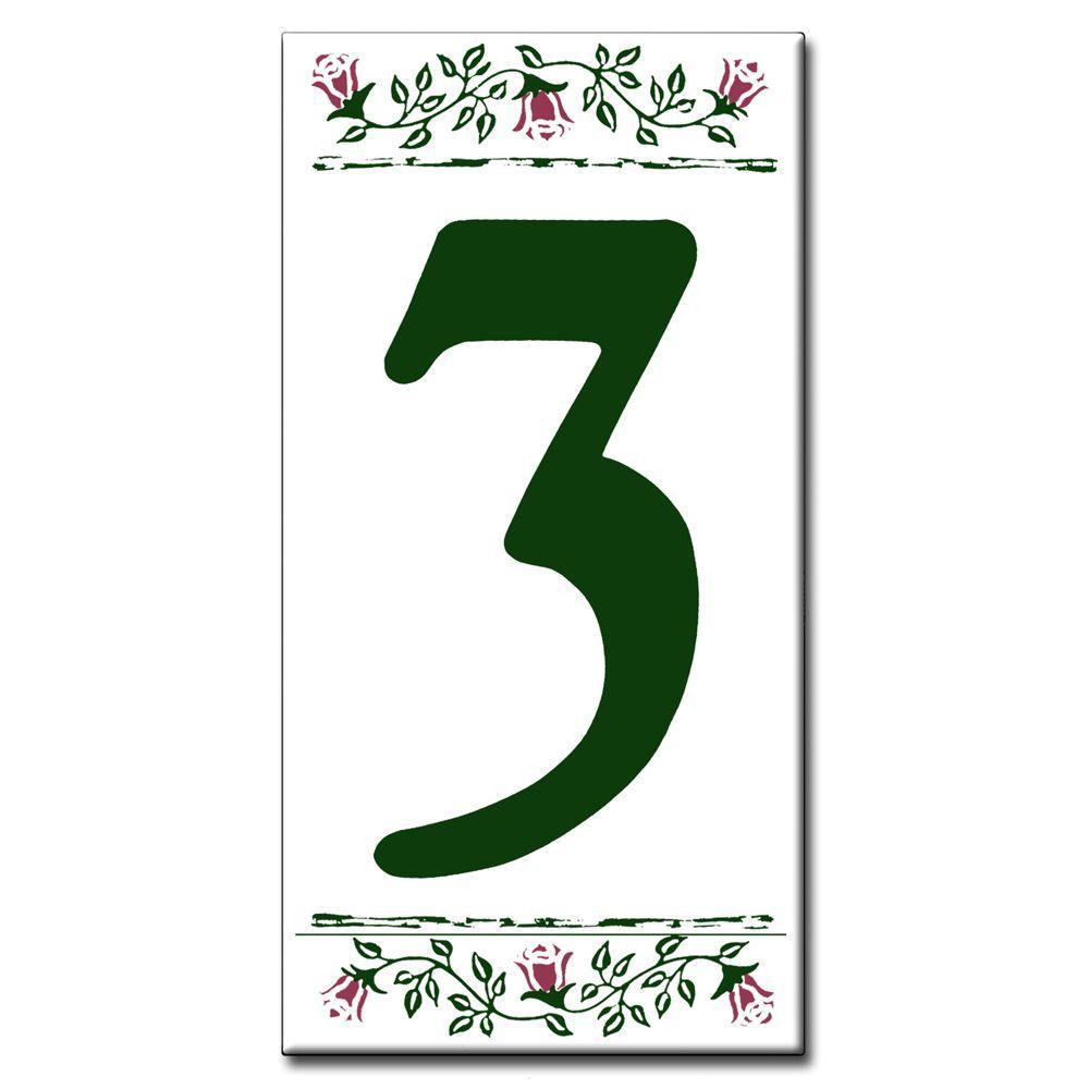Ceramic Tile 3 in. x 6 in. Rose/Green Number 3