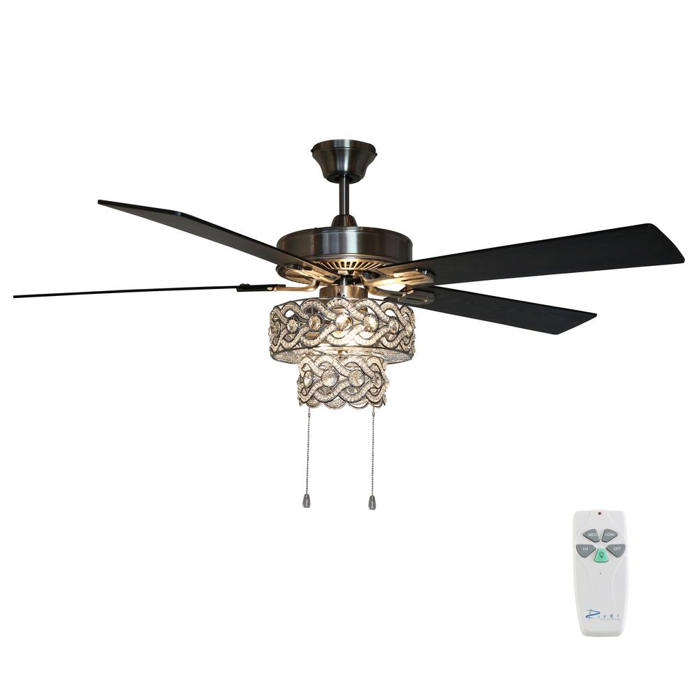 River of Goods 52 in. Satin Nickel Demi Braid Enlaced Crystal Ceiling Fan with Light