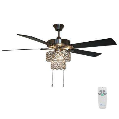 52 in. Satin Nickel Demi Braid Enlaced Crystal Ceiling Fan with Light