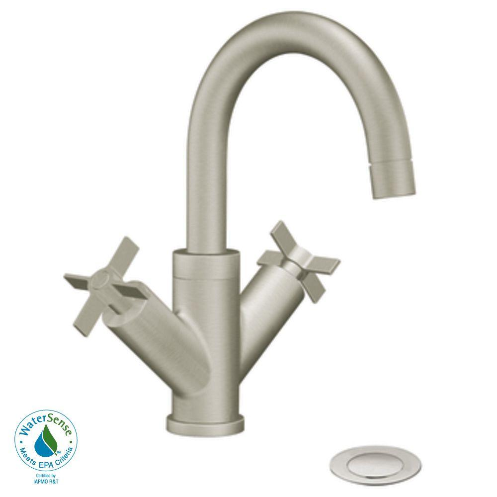 MOEN Solace 4 in. 2-Handle High-Arc Bathroom Faucet in Brushed Nickel-DISCONTINUED