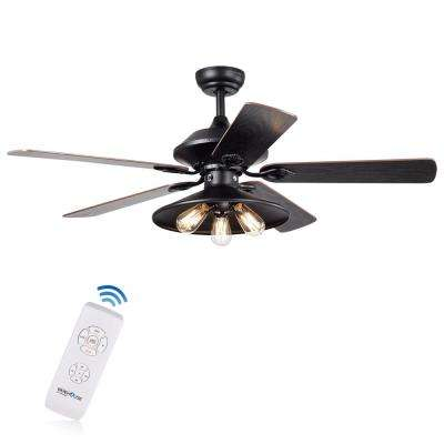 Upille 52 in. Matte Black Remote Controlled Ceiling Fan with Light Kit