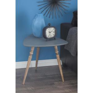 21 inch x 23 inch Chinese Fir Wood Matte Black Accent Table by