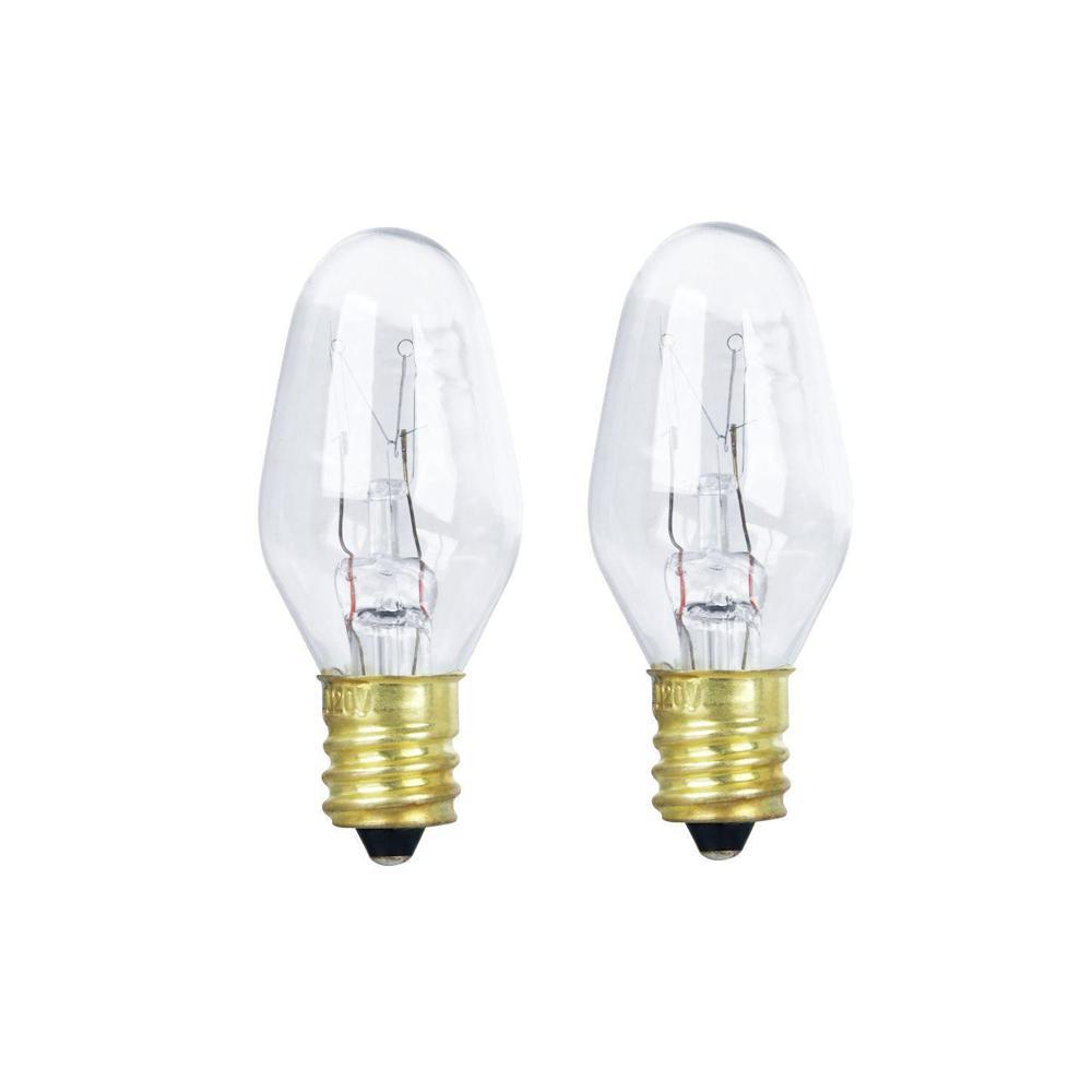 10-Watt Soft White (2700K) C7 Candelabra Dimmable Incandescent Appliance Light Bulb (2-Pack)