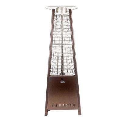73 in. 42,000 BTU Hammered Bronze Pyramid Flame Gas Patio Heater