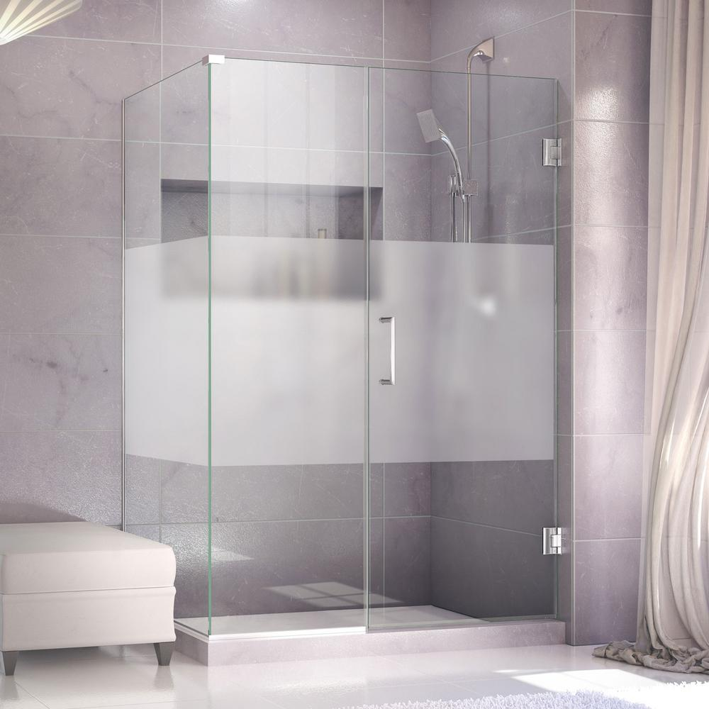 DreamLine Unidoor Plus 34-3/8x 35x 72 Semi-Frameless Hinged Corner Shower Door Enclosure Half Frosted Glass Door in Brushed Nickel