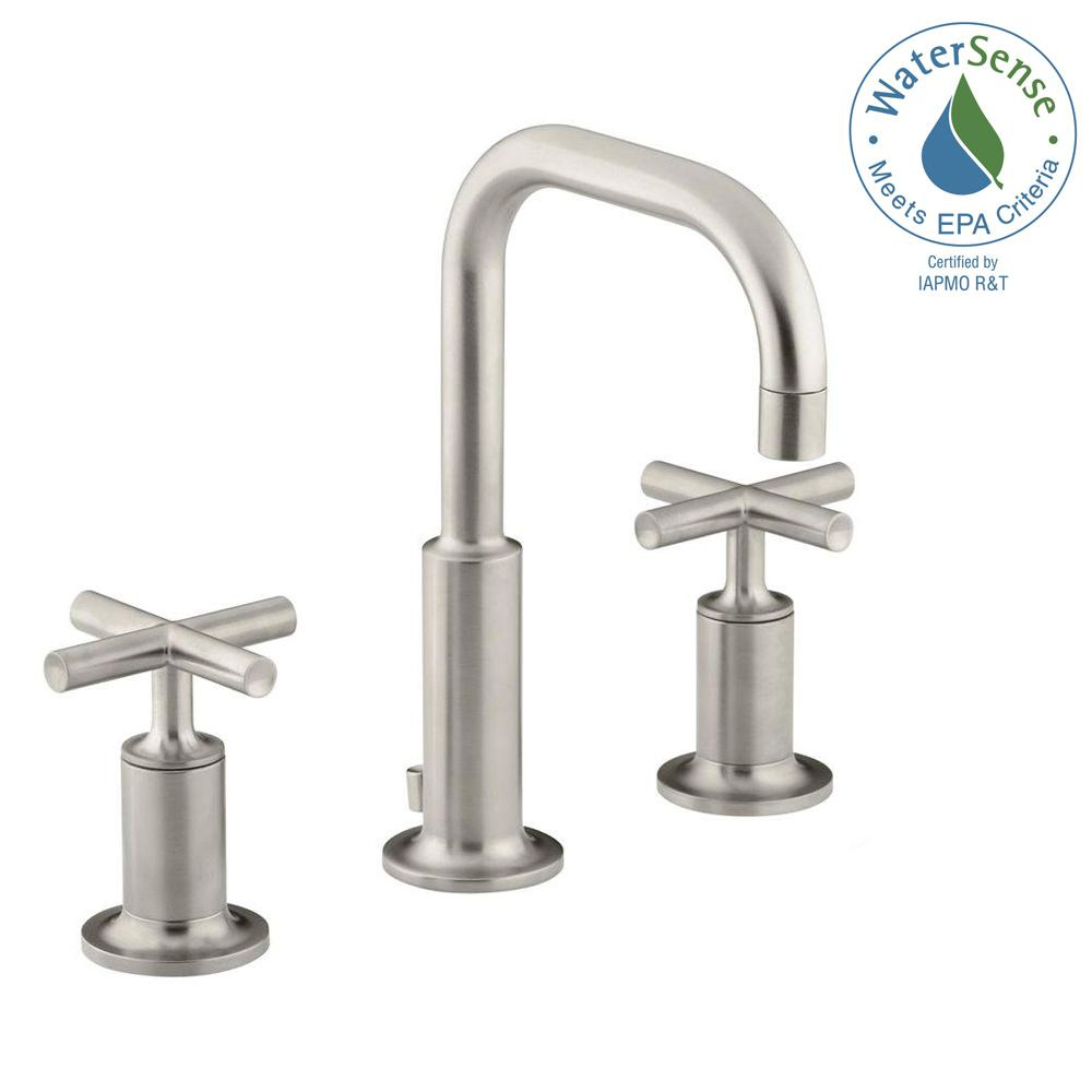 Purist 8 in. Widespread 2-Handle Low-Arc Bathroom Faucet in Vibrant Brushed