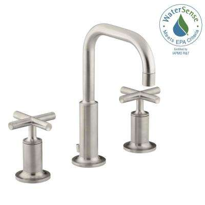Purist 8 in. Widespread 2-Handle Low-Arc Bathroom Faucet in Vibrant Brushed Nickel