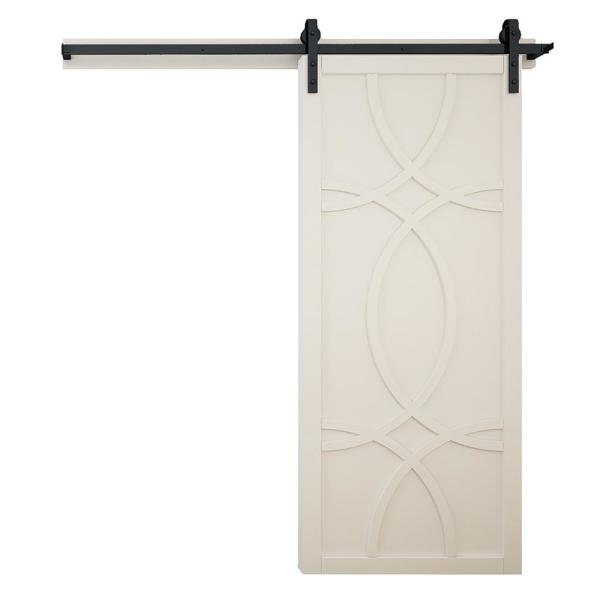 42 in. x 84 in. Hollywood Off White Wood Sliding Barn Door with Hardware Kit