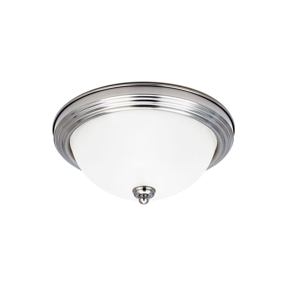 Ceiling Flush Mount 1-Light Brushed Nickel Flushmount with LED Bulb