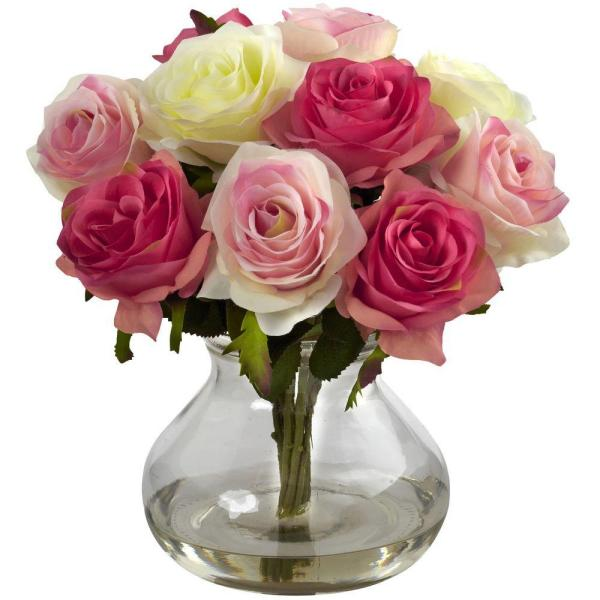 Nearly Natural Rose Arrangement with Vase 1367-AP