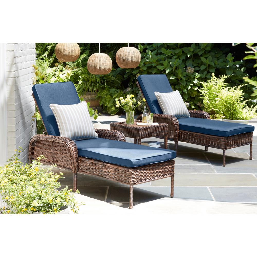 Hampton Bay Cambridge Brown Wicker Outdoor Chaise Lounge with Blue Cushions