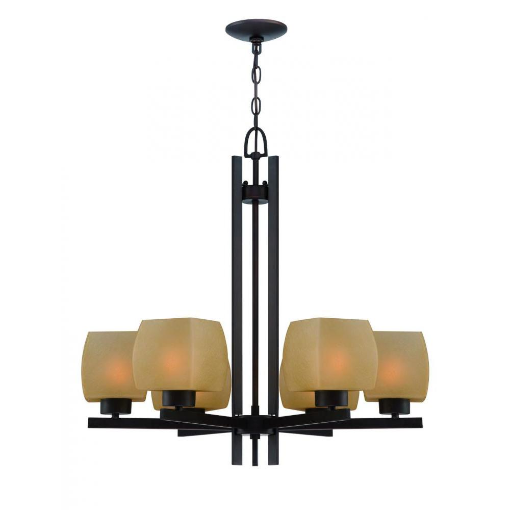 6-Light Dark Bronze Chandelier with Amber Glass Shades