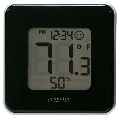 Digital Thermometer and Hygrometer in Black