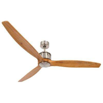Akmani Brushed Chrome and Teak 60 in. DC Ceiling Fan