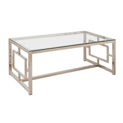 Nickel and Clear Cairns Coffee Table with Glass Top and Geometric Motif