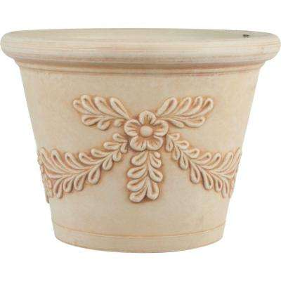 16 in. Dia Garland Ivory Plastic Planter