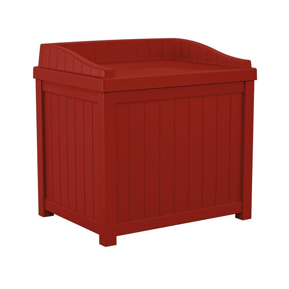 Suncast 22 Gal Red Small Storage Seat Deck Box Ss1000rd The Home