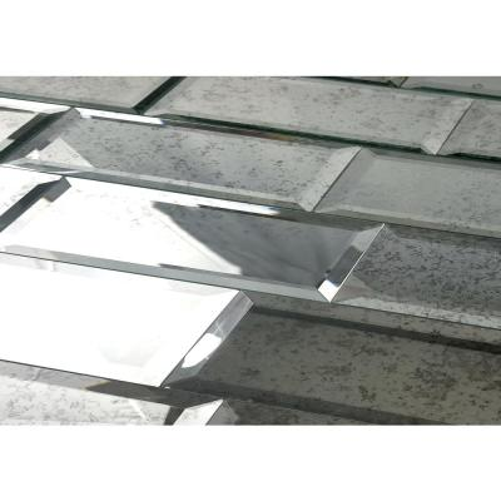 "Subway 3"" x 12"" Anitique Silver Beveled Glass Mirror Peel & Stick Decorative Bathroom Wall Tile Backsplash (4 Pc/Pack)"