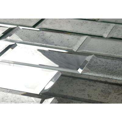 "Subway 3"" x 12"" Anitique Silver Beveled Glass Mirror Peel & Stick Decorative Bathroom Wall Tile Backsplash (4 Pc/Pack)"