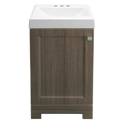 Shaila 18-1/2 in. W Bath Vanity in Silverleaf with Cultured Marble Vanity Top in White with White Sink