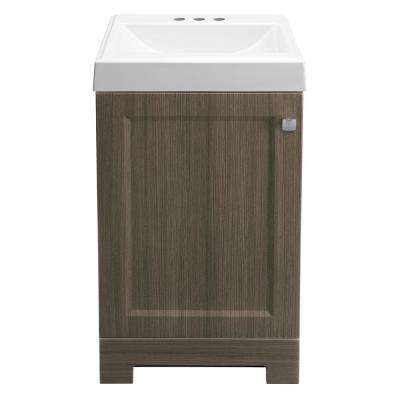Shaila 18-1/2 in. W Bath Vanity in Silverleaf with Cultured Marble Vanity Top in White with White Basin