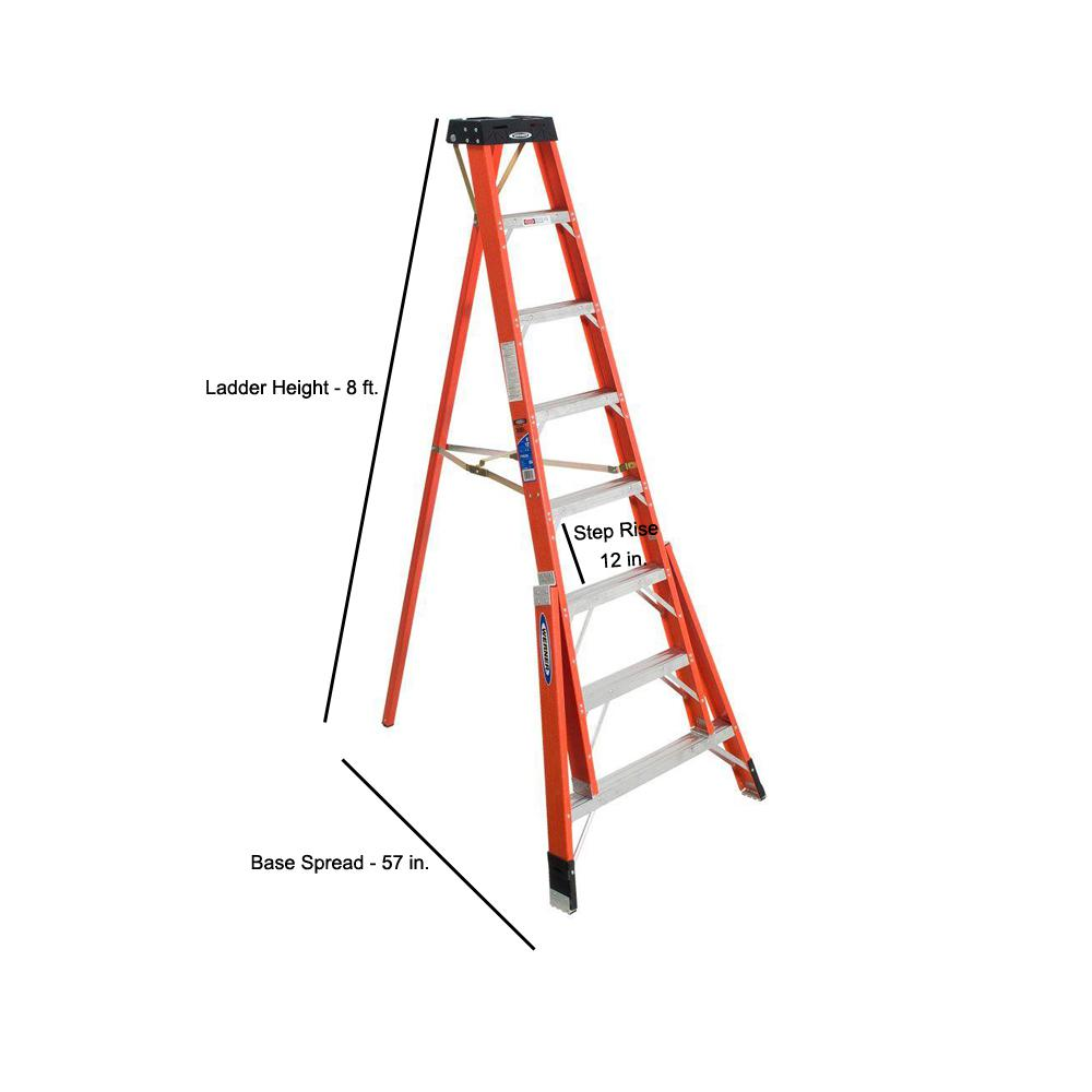 Werner 8 Ft Fiberglass Tripod Step Ladder With 300 Lb Load Capacity Type Ia Duty Rating Ftp6208 The Home Depot