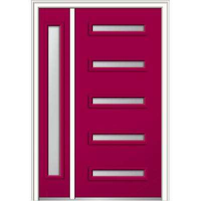 50 in. x 80 in. Davina Frosted Glass Right-Hand Inswing 5-Lite Modern Painted Steel Prehung Front Door with Sidelite