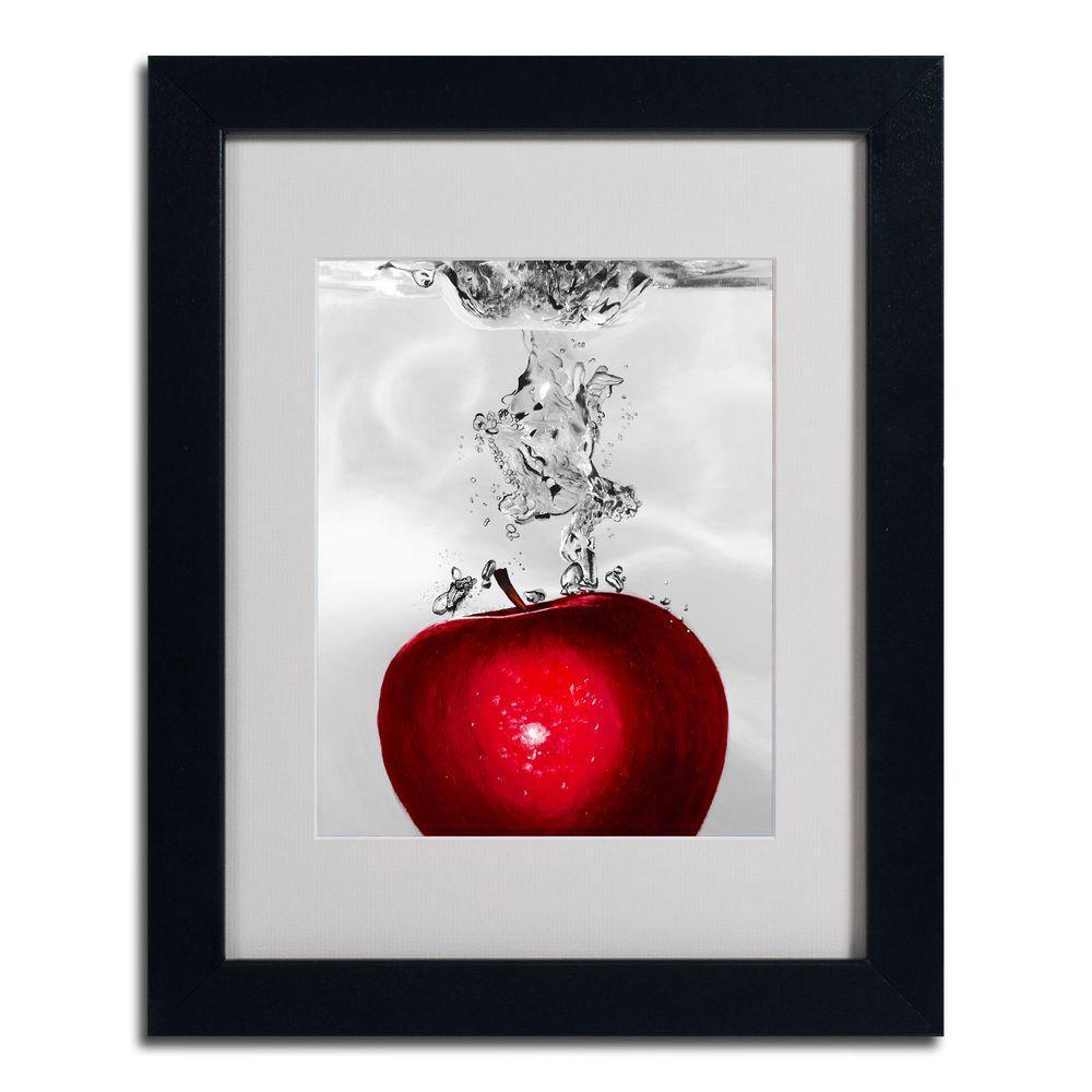 16 in. x 20 in. Red Apple Splash Black Framed Matted