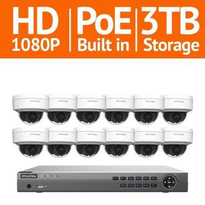 16-Channel Full HD IP Indoor/Outdoor Surveillance 3TB NVR System (12) Dome 1080P Cameras Remote View Motion Record