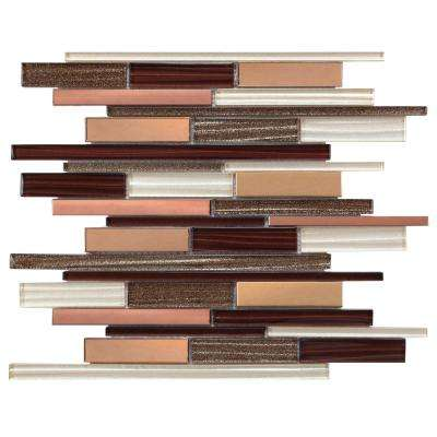 CHENX 12.20 in. x 15.55 in. x 8 mm Aluminum Metal Stone Backsplash in Brown/White (14.49 sq. ft. / case)