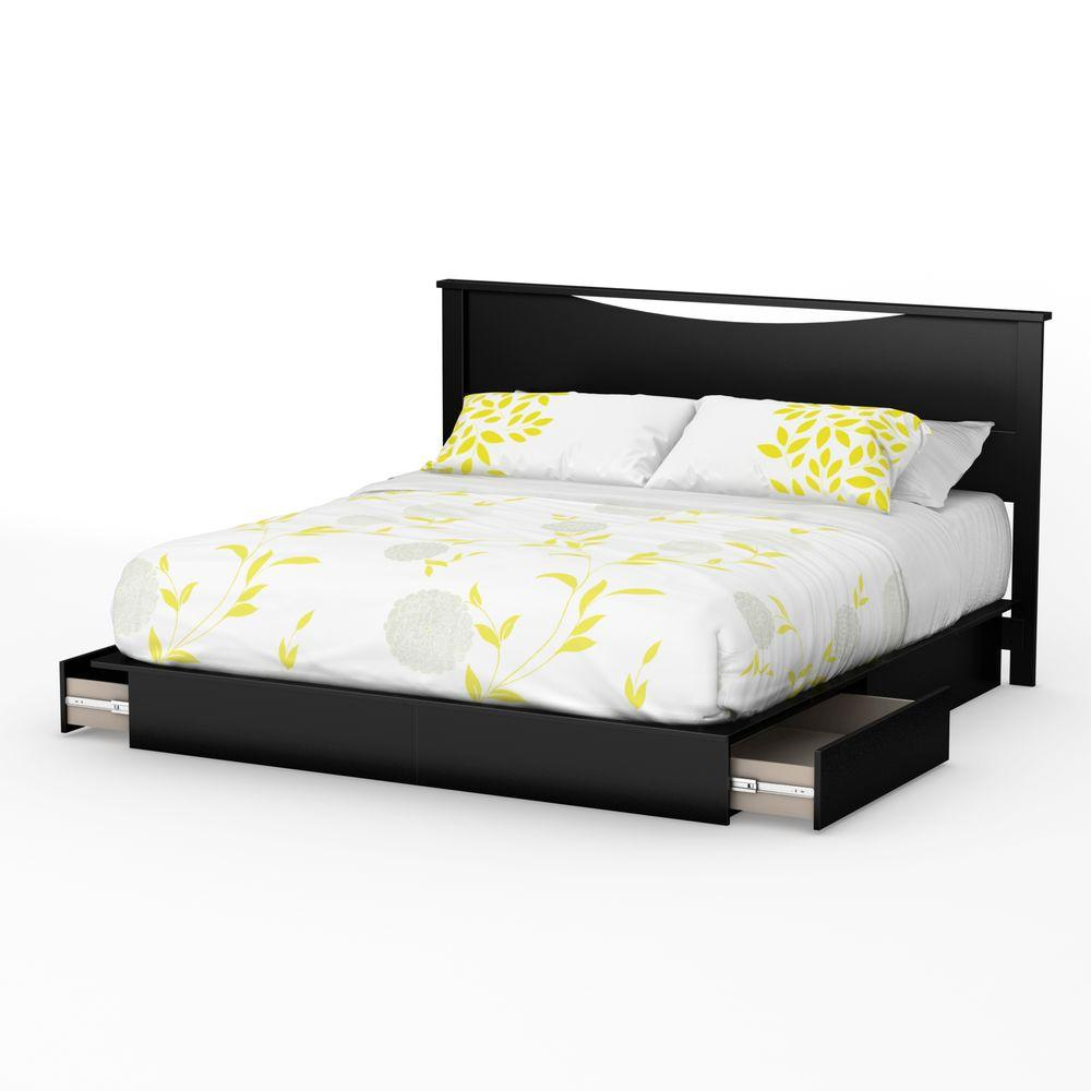 South Shore Step One 2 Drawer King Size Platform Bed In Pure Black