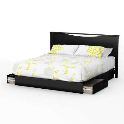 Step One 2-Drawer King-Size Platform Bed in Pure Black