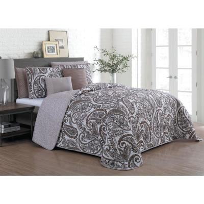 Seville 7-Piece Queen Taupe Quilt Set