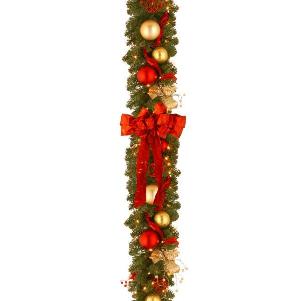 Decorative Collection 9 ft. Cozy Christmas Garland with Red and Clear Lights