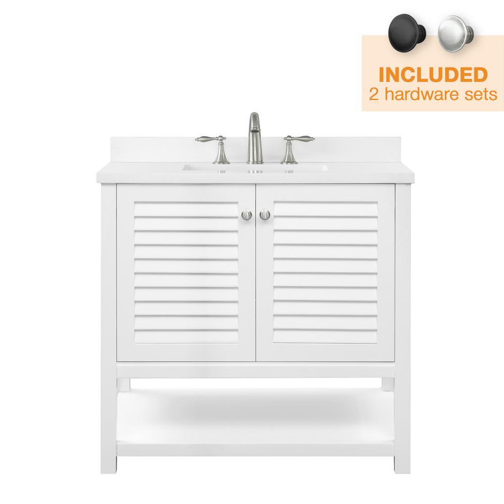 Grace 36 in. W x 22 in. D Bath Vanity in White with Cultured Marble Vanity Top in White with White Basin