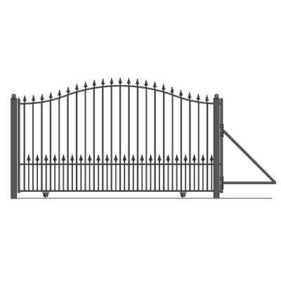 Munich Style 12 ft. x 6 ft. Black Steel Single Slide Driveway with Gate Opener Fence Gate