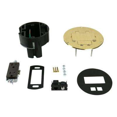 Dual Service Floor Box Kit with 15 Amp Receptacle and 1 RJ45 Cat 5e Jack, Coax F Jack, Brass Cover