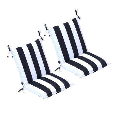 20 in. x 37 in. Black Cabana Stripe Outdoor Mid Back Dining Chair Cushion (2-Pack)