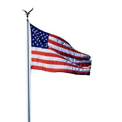20 ft  Aluminum Flagpole with 3 ft  x 5 ft  U S  Flag