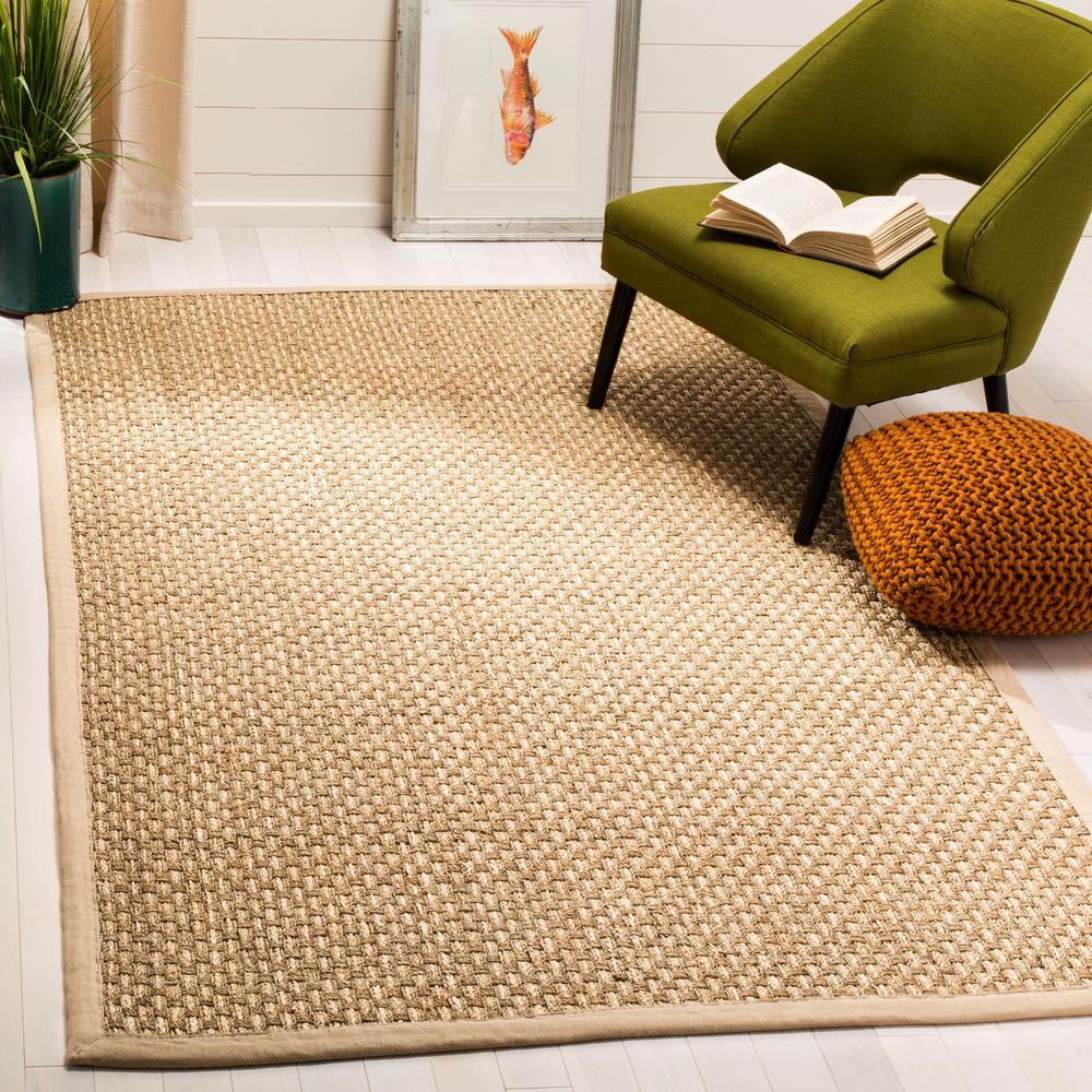Natural Fiber Tan/Beige 6 ft. x 6 ft. Square Indoor Area Rug
