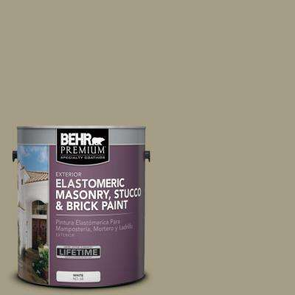 1 gal. #MS-51 Sage Moss Elastomeric Masonry, Stucco and Brick Exterior Paint