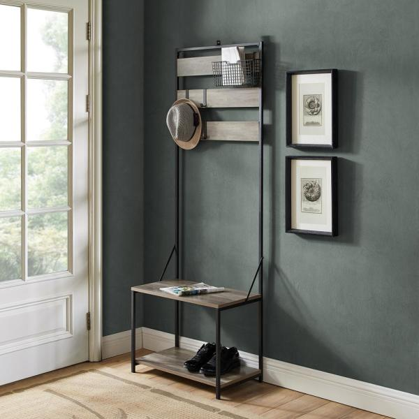 Grey Wash Slat Hall Tree with Adjustable Storage
