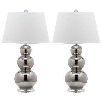 Pamela 27 in. Silver Triple Gourd Ceramic Lamp (Set of 2)