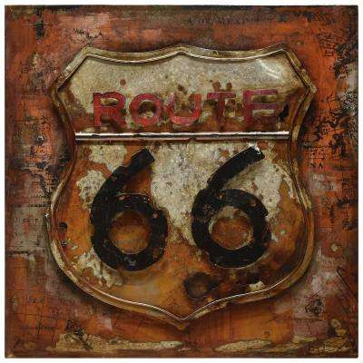 "32 in. x 32 in. ""Route 66"" Mixed Media Iron Hand Painted Dimensional Wall Art"