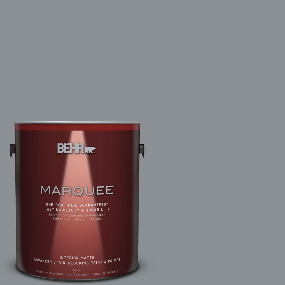 BEHR MARQUEE 1 gal. #MQ5-29 Gotham Gray Matte One-Coat Hide Interior Paint and Primer in One
