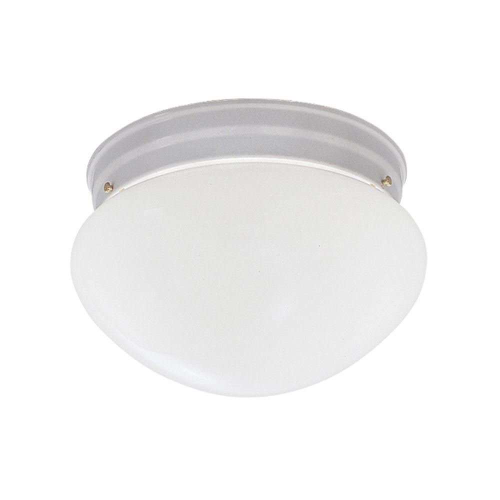 2 Light White Flushmount With Frosted Glass Shade