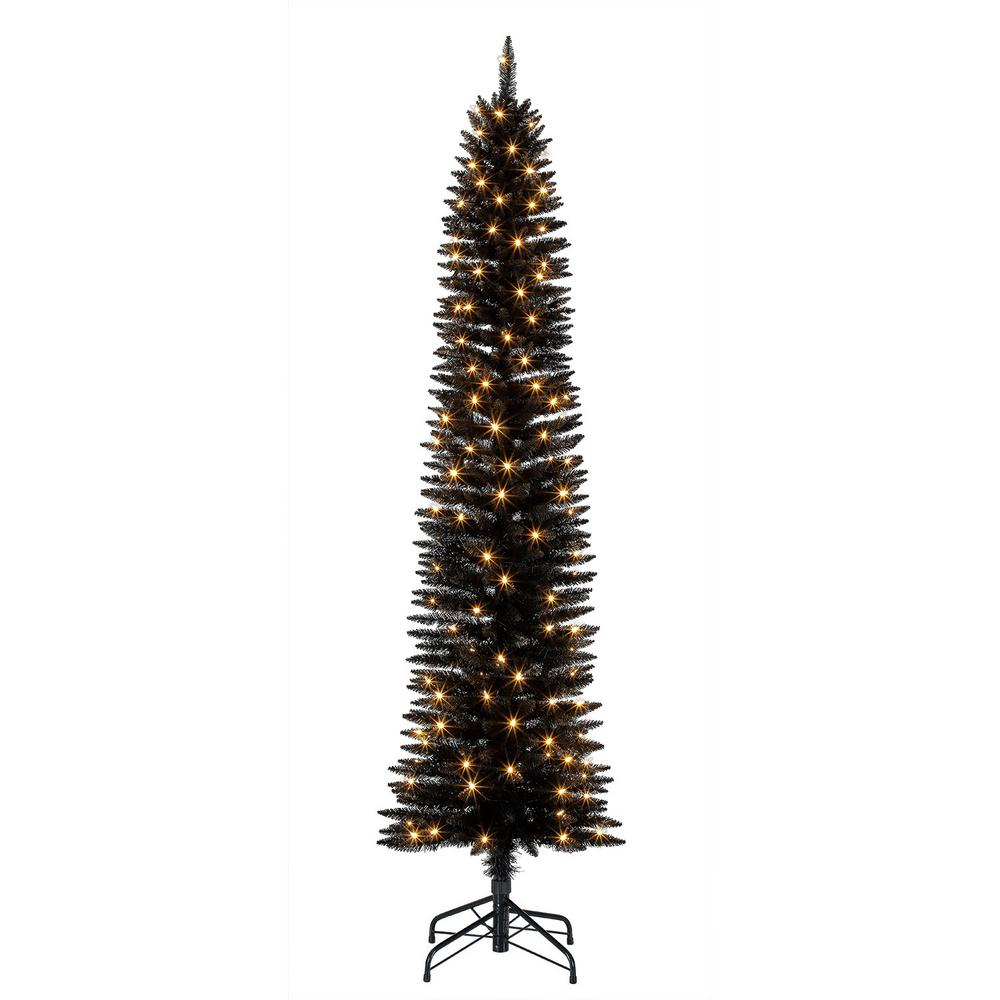 Home Heritage 7 Foot Pencil Artificial Tree With Warm White Led Lights Black