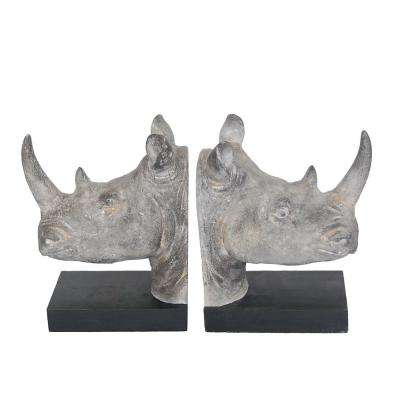 Resin Rhino Head Bookends (Set of 2)